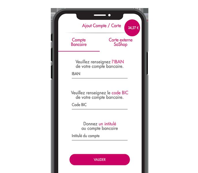 Application mobile SoShop.Club rubrique compte bancaire