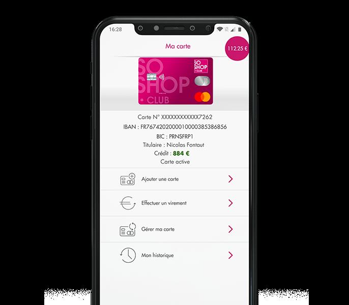 Application mobile SoShop.Club rubrique ma carte